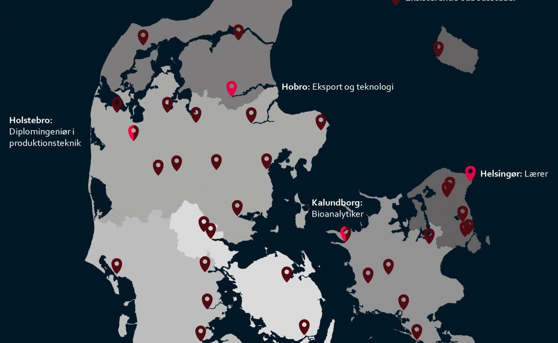 I dag udbyder professionshøjskolerne allerede grunduddannelser i 35 byer fordelt i hele Danmark. De eksisterende udbud og de fire nye uddannelsesstationer kan ses på kortet